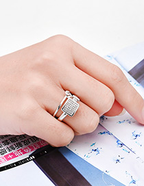 Fashion Silver Color Square Shape Decorated Double Layer Ring
