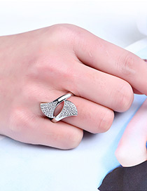 Fashion Silver Color Leaf Shape Decorated Pure Color Ring