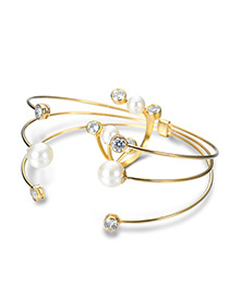 Trendy Gold Color Pearl&diamond Decorated Open Pure Color Jewelry Set