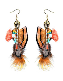 Trendy Multi-color Feather Decorated Color Matching Simple Earrings