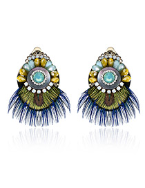 Fashion Green Diamond&feather Decorated Color Matching Earrings