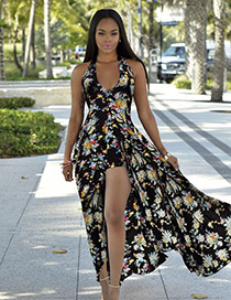 Fashion Black Flower Pattern Decorated Backless Long Dress