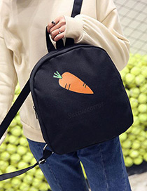Fashion Black Carrot Pattern Decorated Pure Color Simple Backpack