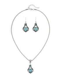 Trendy Green Heart Shape Decortated Pure Color Jewelry Set