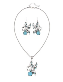 Trendy Green Butterfly Shape Decorated Hollow Out Pure Color Jewelry Set