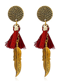 Trendy Red Tassel&leaf Decorated Color Matching Simple Earrings