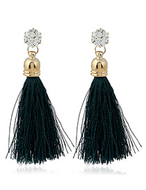 Trendy Dark Blue Diamond&tassel Decorated Pure Color Simple Earrings