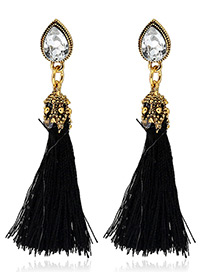 Trendy Black Diamond&tassel Decorated Pure Color Simple Earrings