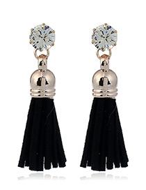 Trendy Black Diamond&tassel Decorated Pure Color Simple Earrings