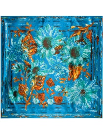 Fashion Blue Oil Painting Chrysanthemum Decorated Scarf