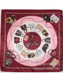 Fashion Red Bags Pattern Decorated Square Shape Scarf
