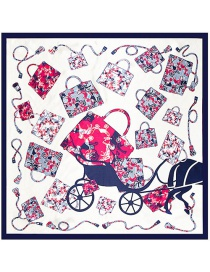 Fashion Navy Carriage&bag Pattern Decorated Simple Scarf