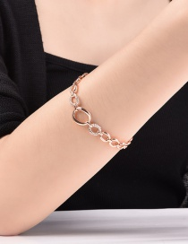 Fashion Rose Gold Circular Ring Decorated Pure Color Bracelet