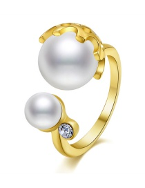 Fashion Gold Color Pearls Decorated Simple Opening Ring