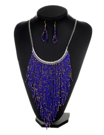 Fashion Purple Long Tassel Decorated Pure Color Jewelry Sets