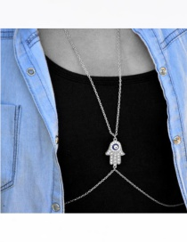 Fashion Silver Color Palm Shape Decorated Pure Color Body Chain