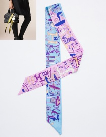 Fashion Pink+blue Cartoon Pattern Decorated Simple Scarf