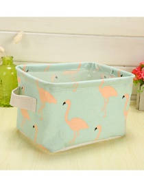 Trendy Green Flamingo Pattern Decorated Pure Color Storage Box