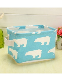 Trendy Blue Polar Bear Pattern Decorated Pure Color Storage Box