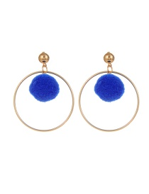 Fashion Sapphire Blue Pompom Ball Decorated Pure Color Simple Earrings