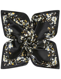 Trendy Black Flower Pattern Decorated Square Shape Simple Scarf