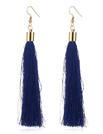 Elegant Sapphire Blue Tassel Deocrated Pure Color Simple Earrings