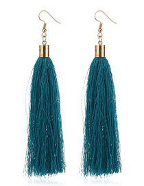 Elegant Blue Tassel Deocrated Pure Color Simple Earrings