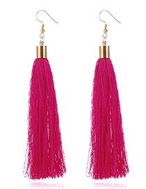Elegant Plum Red Tassel Deocrated Pure Color Simple Earrings