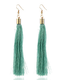 Elegant Light Blue Tassel Deocrated Pure Color Simple Earrings