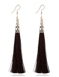 Elegant Coffee Tassel Decorated Pure Color Simple Earrings