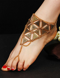 Trendy Ancient Gold Color Triangle Shape Decorated Pure Color Anklet