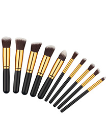 Fashion Black+gold Color Geometry Decorated Color Matching Cosmetic Brush (10 Pcs)