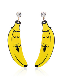 Fashion Yellow Banana Pendant Decorated Earrings