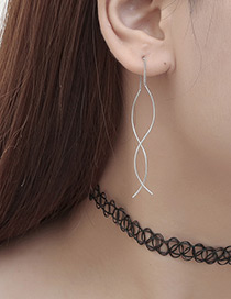 Fashion Silver Color Pure Color Decorated Simple Earring