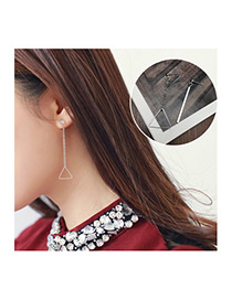 Fashion Silver Color Triangle Shape Decorated Dissymmetry Earrings
