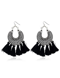 Bohemia Black Tassel Decorated Hollow Out Earrings
