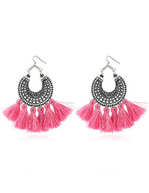 Bohemia Pink Tassel Decorated Hollow Out Earrings