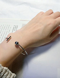 Fashion Silver Color Letter T Decorated Opening Bracelet