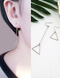 Fashion Silver Color Traingle Shape Decorated Dissymmetry Earrings