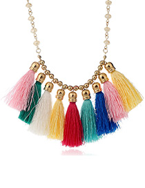 Bohemia Multi-color Color-matching Decorated Tassel Necklace