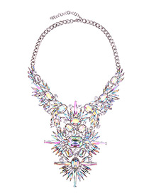 Fashion Multi-color Geometric Shape Diamond Decorated Simple Necklace