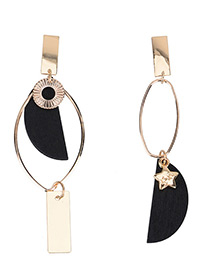 Exaggerated Black Star&sector Shape Decorated Simple Earrings