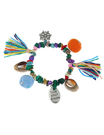 Fashion Multi-color Shell&tassel Decorated Color Matching Bracelet