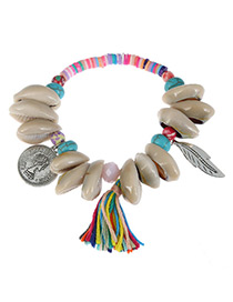 Fashion Multi-color Shell&leaf Decorated Color Matching Bracelet