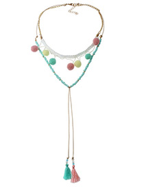 Fashion Multi-color Long Tassel&fuzzy Balls Decorated Long Pom Necklace