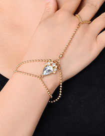 Fashion Gold Color Water Drop Shape Diamond Decorated Double Layer Bracelet1pc)