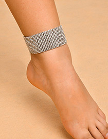 Sexy Silver Color Full Diamond Decorated Multi-layer Anklet(1pc)