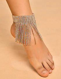 Fashion Gold Color Full Diamond Decorated Tassel Design Anklet(1pc)