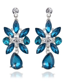 Vintage Blue Oval Shape Diamond Decorated Earrings