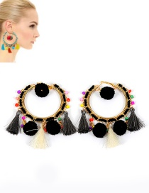 Trendy Black Pompom Ball&tassel Decorated Color Matching Earrings